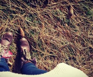 aesthetic, brown boots, and pine cone image