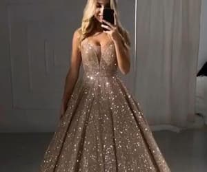 prom dresses, gold prom dress, and plus size prom dresses image