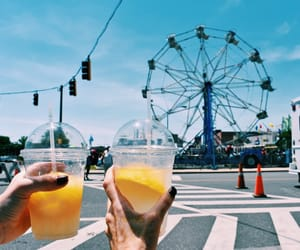 carnival, drink, and ferris wheel image