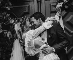 happy, smile, and wedding photo image
