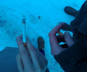 cigarettes, hands, and snow image