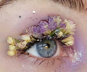 flowers, blue eyes, and eye image