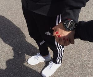 couple, adidas, and black image