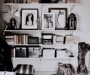 interior, art, and books image