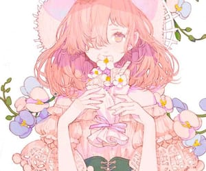 anime, flowers, and girl image