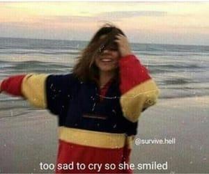 sad, smile, and tired image