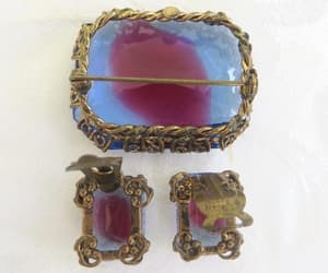 clip earrings, filigree brooch, and vintage jewelry sets image