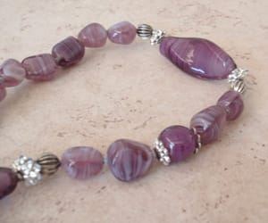 beaded necklace, purple necklace, and art glass necklace image