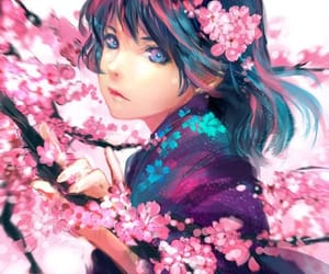 anime, blossoms, and nature image