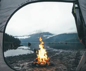 adventure, campfire, and mountain view image
