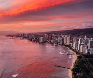 beach, hawaii, and sunset image