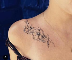 ink, tattoo, and flowers image