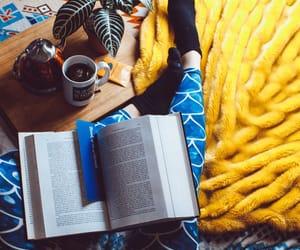 books, leggings, and coffee image