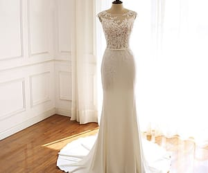 bridal gown, lace, and wedding dresses image