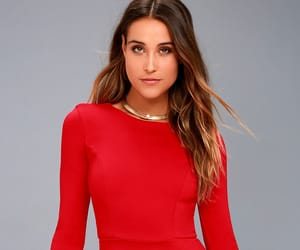 cute, skater dresses, and red dresses. long sleeve image