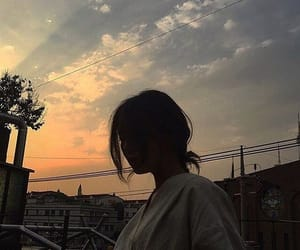 girl, sky, and sunset image