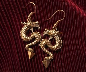 red, earrings, and dragon image