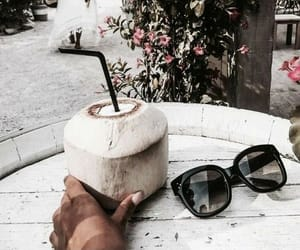 coconut, drink, and flowers image