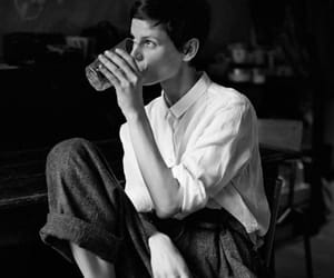 top button and androgynous girl image