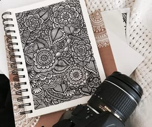 art, black and white, and colors image