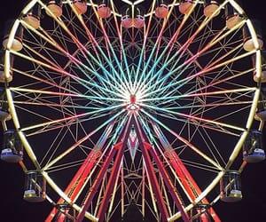 amusement park, colors, and ferris wheel image