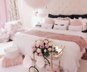 bed, bedroom, and pink image