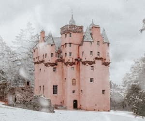 castle, pink, and snow image