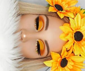 yellow, makeup, and sunflower image