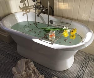 bath, flowers, and water image