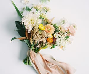 bouquet, bride, and flowers image