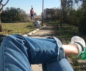 autum, blue sky, and cowboy image