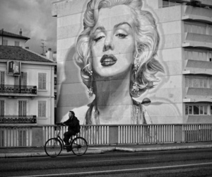 Marilyn Monroe, black and white, and art image