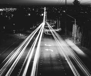 asphalt, black and white, and city at night image