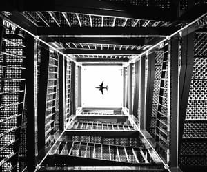 airplane, black and white, and explore image
