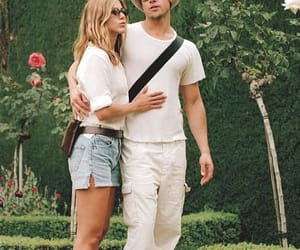 brad pitt, white clothes, and couple image