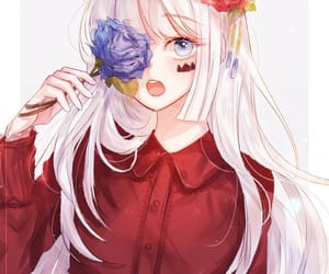 anime girl, anime, and white hair image