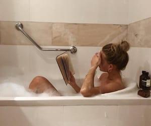 girl, bath, and book image
