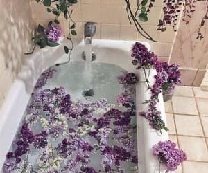 flowers, purple, and bathtub image