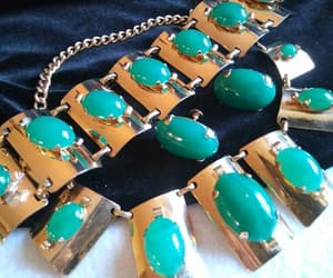 etsy, vintage parure, and green glass jewelry image