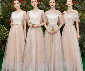 bridal party, girl, and bridesmaid dress image