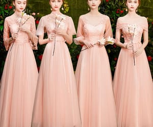 girl, pearl pink dress, and wedding party dress image