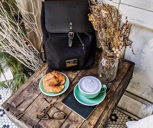 backpack, cafe, and coffee image
