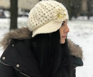 beanie, snow, and whi image