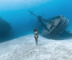 boat, diving, and water image