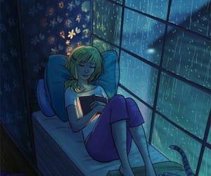 book, rain, and cat image