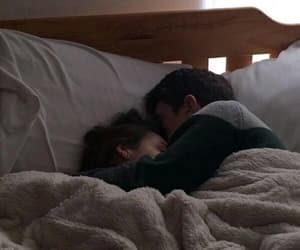 couple, love, and bed image