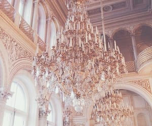 chandelier, gold, and pink image