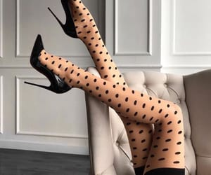 black, nylons, and polka dots image