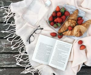 croissant, book, and strawberry image