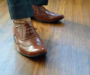 handmade leather shoes, tan color men's shoes, and 100% leather shoes image